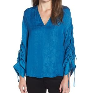 CHELSEA28 - Shirred Tie Sleeve Top - Size S